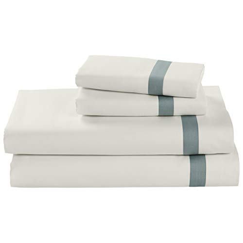 Stone & Beam Banded 100% Percale Cotton Bed Sheet Set, Easy Care, King, Lagoon