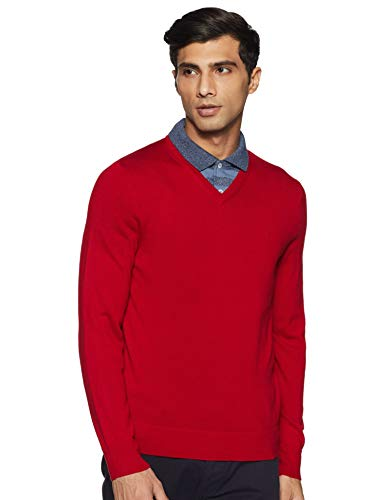 Calvin Klein Men's Merino Sweater V-Neck Solid, Jester Red, Medium