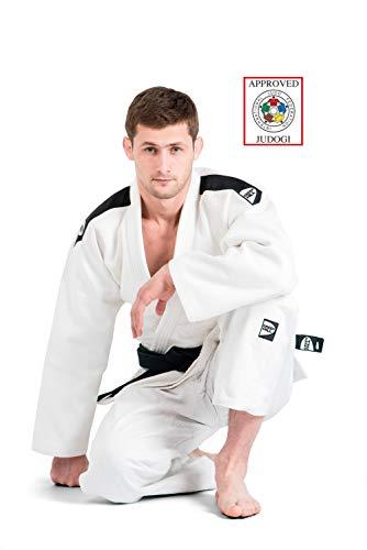 GreenHill Judogi Professional Aprobado IJF Judo Gi Homologado Uniforme Blanco Azul Kimono Nuevo Fitting Unisex (Blanco con Banda en los Hombros Color Negro, 180 Slim Fit)