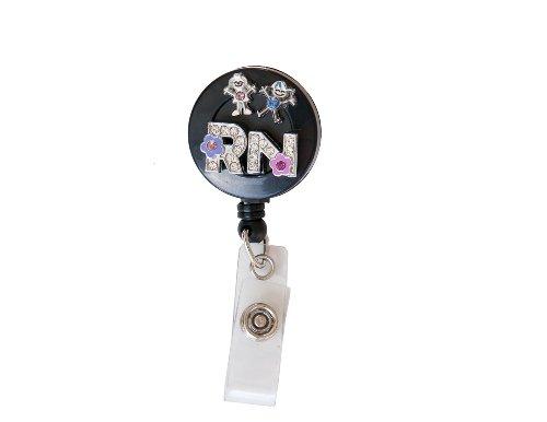 New Custom Bling Rhinestone Medical Field ID Badge Pull Reels Retractable ID Badge Holders (3D RN Children)