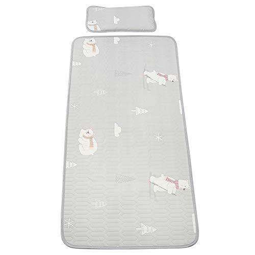 Materassino per bebè estivo, materassino per cameretta materasso per culla in seta di ghiaccio con cuscino per il pisolino lenzuolo per culla traspirante per neonati 120 x 60 cm(120 * 60-Grigio)