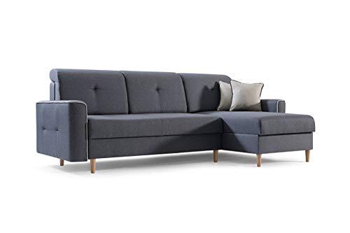 mb-moebel Ecksofa Sofa Eckcouch Couch mit Schlaffunktion und Bettkasten Ottomane L-Form Schlafsofa Bettsofa Polstergarnitur MIKA (Dunkelgrau, Ecksofa Rechts)