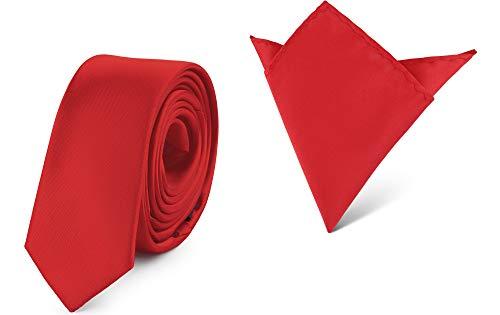 Ladeheid Set de Corbata Estrecha y Pañuelo Hombre SP/P (150cm x 5cm, 22cm x 22cm, Rojo)