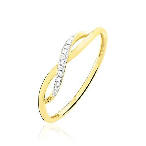 """Rendez-vous RueParadis Paris - Anillo Fino""""Elsa"""" - Diamante y Diseño Infinito - Oro Amarillo 9 Kilates (9k) 375 - Joya De Mujer Exquisita - Rebajas De Verano"""