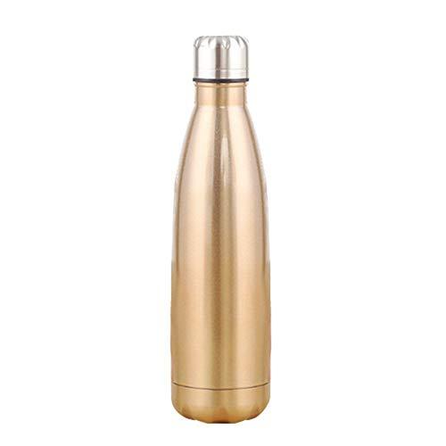 Julymall Vacuüm Flessen, Geïsoleerde Roestvrij Staal Water Vacuüm Flask Dubbelwandige voor Outdoor Sport Wandelen Running, Champagne Goud, 1L