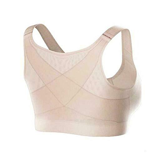 Qishun Frauen Rückenstütze Haltungskorrektur Drahtloser BH Verstellbarer Frontverschluss, Kompletter Komfort Sport Yoga Schlaf-BH ohne Polsterung (Hautfarbe, X-Large)