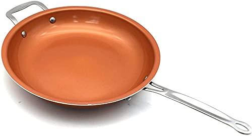 CJDM Sartén sartén Wok sartén Antiadherente inducción Wok Pan Pizza sartén de Huevo Estufa de Gas sartén para panqueques hogar 28 cm
