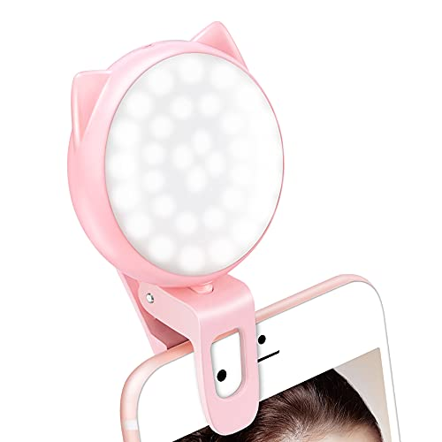 Selfie Clip on Ring Light, Mini Rechargeable 9 Level Adjustable Brightness Circle Light with 32 LED, Max 8 Hrs, USB Photo Flash Light for Cell Phone iPhone/Android, Laptop, Video, Photography - Pink