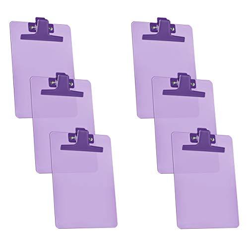 Acrimet Clipboard Memo Size A5 (9 1/4' x 6 1/3') Premium Metal Clip (Plastic) (Purple Color) (6 Pack)