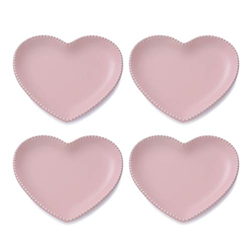 CHOOLD Elegant Ceramic Heart Shaped Salad Plate/Dessert Plate for Home Kitchen Party Xmas-7 Inch-Set of 4