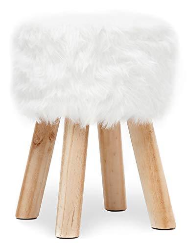 Hocker Rund aus Kunstfell Sitzhocker Fußbank Polsterhocker Schemel Pouf Sofa hocker Puff Gepolstert Hocker Sitzbezug für Flur Wohnzimmer Schlafzimmer mit Holzbeine Weiß
