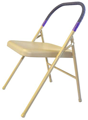 Pune Yoga Chair - Buff Chair with Purple Wrap