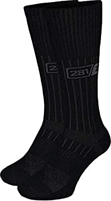 281Z Military Boot Socks - Tactical Trekking Hiking - Outdoor Athletic Sport (Black)(Small 2 Pairs Pack)