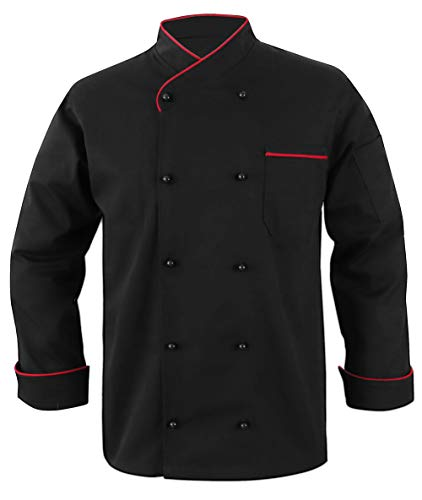 10oz apparel Black Chef Coat Contrast Piping Long Sleeves Jacket (Black/Red Piping, L)