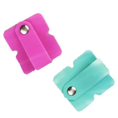 Organizador de cable de auriculares Administrador de cable los Auriculares Bobinadora Cable Sujetadores de cable ParaClips de Cable USB,Cable Winder Tidy Wrap Carrete 2 piezas (verde, rosa)