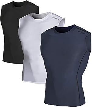 DEVOPS 3 Pack Men s Athletic Compression Shirts Sleeveless  X-Large Black/Charcoal/White