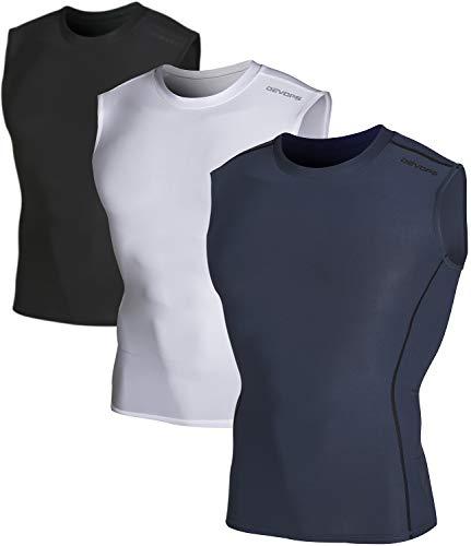 DEVOPS 3 Pack Men's Athletic Compression Shirts Sleeveless (Large, Black/Charcoal/White)