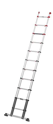 Hailo ProfiLine T350 Alu-Teleskopleiter (11 Sprossen, Leiternhöhe individuell einstellbar, Slow Slide Technology, belastbar bis 150 kg) 9113-111