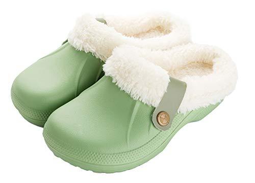 FolHaoth Damen-Hausschuhe, wasserdicht, gefüttert, mit Pelz gefüttert, Hausschuhe für den Innen- und Außenbereich, Grün - grün - Größe: 37/38 EU