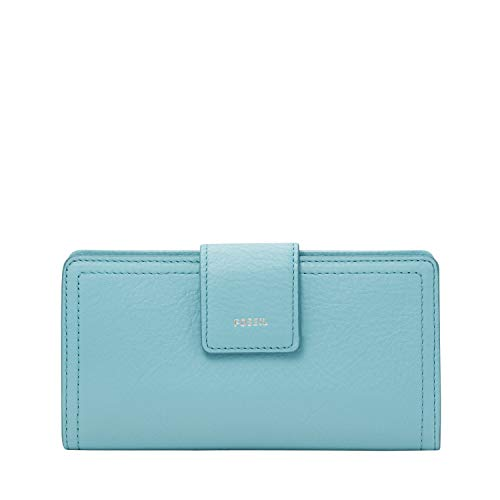 Fossil Women's Logan Eco Leather RFID Blocking Tab Clutch Wallet, Turquoise