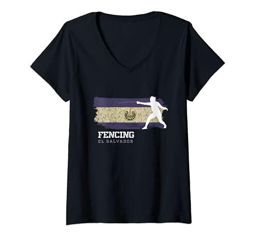 Mujer El Salvador Esgrima Esgrima Espada Esgrima Camiseta Cuello V