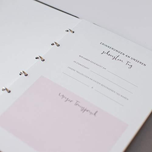 JO & JUDY Familienstammbuch | Hochzeit | Dunkelgrau mit Goldfolienprägung - 16,6 x 22 cm - 10 Inhaltsseiten - Froschtasche - 6-fach Ringmechanik - 3