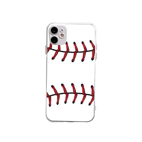 XUJIAHUI Funda transparente para iPhone 12 y 12 y iPhone 12 Pro Béisbol a prueba de golpes, funda protectora de goma suave, funda para teléfono de tres tamaños