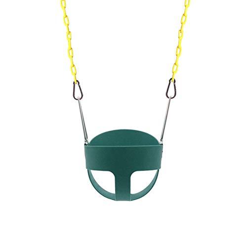 Columpio con respaldo alto para niños pequeños con cadena exclusiva y protección triangular contra pellizcos y mosquetones de fácil instalación para equipos de juegos al aire libre
