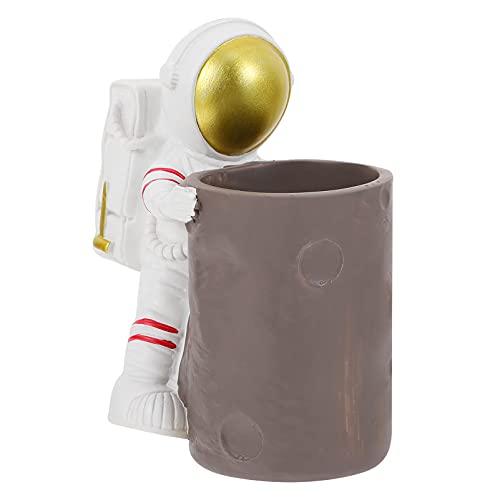 HEMOTON Sostenedor Decorativo del Lápiz Astronauta Soporte del Lápiz Figura del Astronauta Escritorio Pluma Taza Contenedor Cepillo Tijera Titular de Resina Organizador de Escritorio para