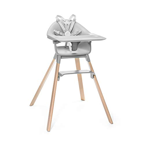 STOKKE® Clikk™│Seggiolone portatile con gambe in legno, vassoio e cintura di sicurezza│Sedia pappa per bambini con seduta e poggiapiedi regolabili│Colore: Cloud Grey