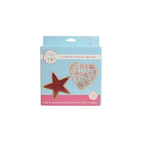 Cake Star Cutter & Texture Mat Set - Heart & Star