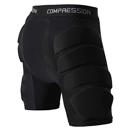 Shinestone Protective Padded Shorts Detachable Pants-Black (Medium)