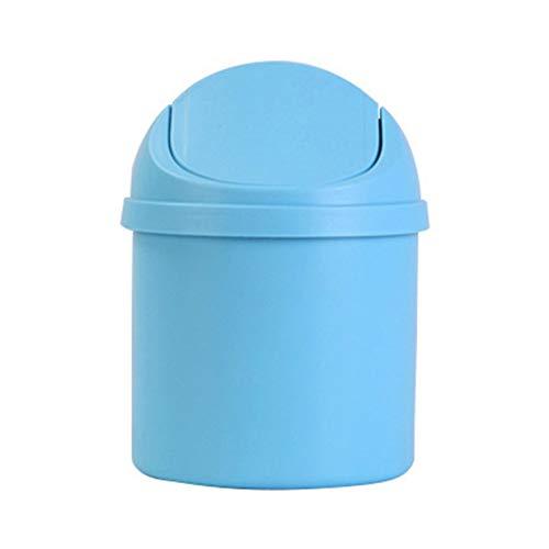 SSLHDDL Netter Mini Kleiner Abfalleimer Arbage Korb Tabelle Home Office Trash Can Can Trash Rollen Schaukel Staubfall-Halter-Speicher Bucket (Color : Blue)