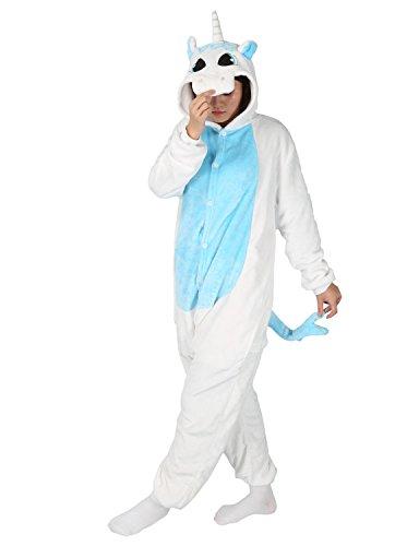 Adulte Unisexe Anime Animal Costume Cosplay Combinaison Pyjama Outfit Nuit Vêtements Onesie Fleece Halloween Costume Soirée de Déguisements (Licorne Bleu, S (pour 148-155CM))