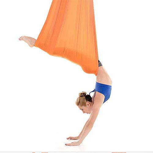 DYJD 18 colores de yoga aéreo Silk Yoga Swing Ultra Strong Antigravity Yoga Hamaca Mejora la fuerza y la flexibilidad de la bala, Naranja