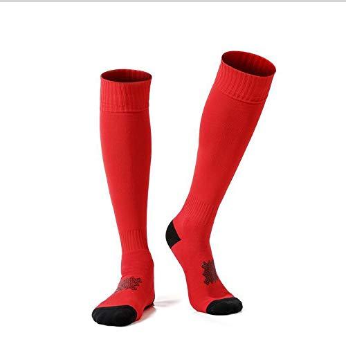 Men Soccer Socks Skidproof Women Long Sports Socks Cushion Performance Non-Slip Youth Football Socks- Best Medical, Nursing,Travel & Flight Socks-Running & Fitness(Two Pairs),Red