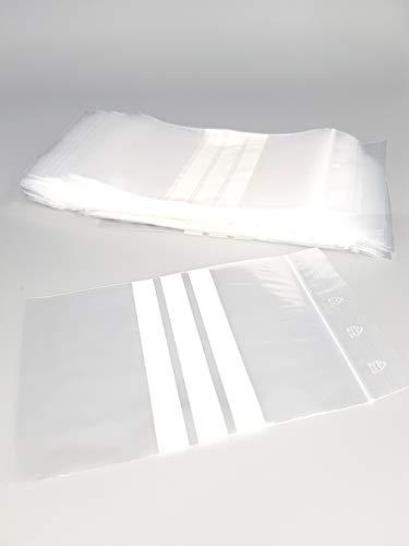 Bolsa con cierre de cremallera y 3 tiras blancas, pack de 1000 (10 x 100), 50 micras