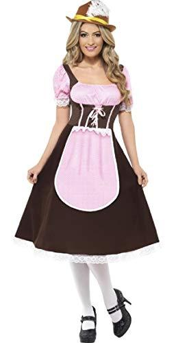 Damen länger Länge Tavern Girl braun Oktoberfest Servieren Wench Hen Do International Bier Festival Fancy Kleid Kostüm Outfit UK 8–22Plus Größe, Braun