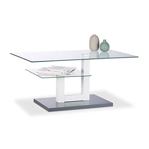 Relaxdays, Gris, 45 x 100 x 60 cm Mesa Centro de Cristal Rectangular con Repisa para Salón, Vidrio, Metal y DM
