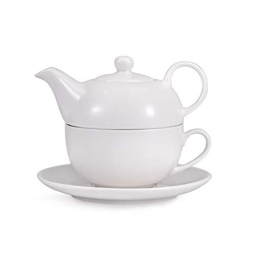 Urban Lifestyle Tea 4 One/Tea for One - Juego de Tetera de Porcelana para una Persona, Incluye una Tetera Blanca, una Taza de té y un platillo