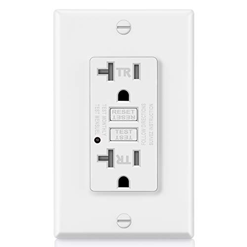 ELECTECK GFCI Outlet, Tamper-Resistant (TR) GFI Receptacle with LED Indicator, 20A/125V/2500W, Decorator Wall Plate and Screws Included, ETL Certified, White