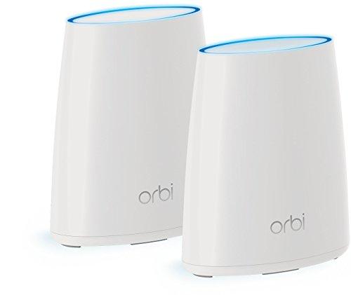 Netgear Orbi RBK40 100PES AC2200 Tri band Mesh WLAN System Home Set bis zu 250 m und kompatibel mit Alexa weis matt