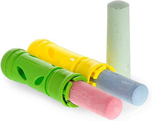 Juego de soporte de tiza para manos y dedos limpios, Soporte de tiza Sidewalk Street Chalk Jumbo Chalk 2.5cm, para los niños, 2 cómodos mangos para tiza + bolígrafos de tiza hermosos colores lavables