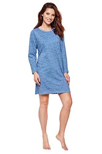 Moonline modernes und bequemes Damen Nachthemd, mit weicher Baumwolle, Verschiedene Modelle (M, blau-Gemustert)