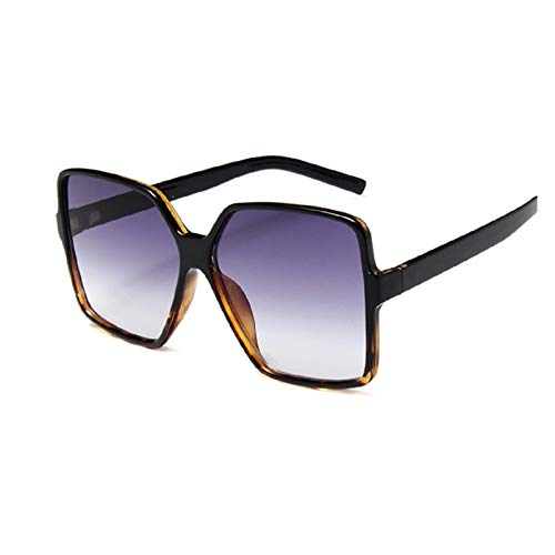 Gafas de Sol de Gran tamaño Cuadrado Negro Mujeres Colorido Gafas de Sol Espejo Hembra Unisex gradiente Hip Hop Shades (Lenses Color : Black Leopard)