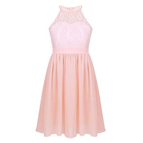 iEFiEL Sweet Mädchen Prinzessin Kleid Spitzen Blumenmädchenkleider für Hochzeits Brautjungfern Festzug Partei Festliches Kleid Gr. 104-164 Rosa 152