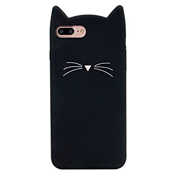 DiDicose iPhone 6 6S Case iPhone 6 6S Cartoon Case,3D Cartoon Animal Black Whiskers Cat Kitty Silicone Rubber Phone Case Cover for Apple iPhone 6 / 6S 4.7 inch