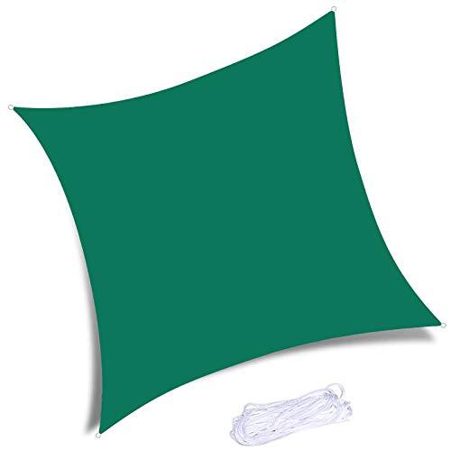 YTQ Velas de Sombra 95% Bloque UV Protector Solar Protector Solar Toldo Vela Solar Rectángulo Resistente Al Agua Jardín Césped Pérgola Decking Verde con 4 Cuerdas Libres(Size:2 * 2.5m)