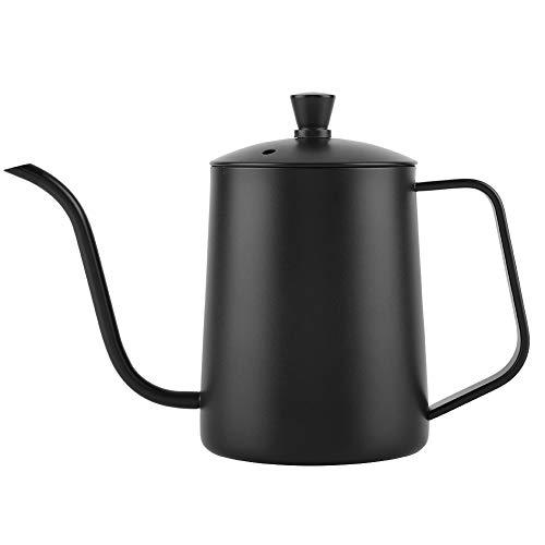 Garsent Kaffeekanne mit Schwanenhals, 550 ml Edelstahl Pour Over Kaffeekessel Wasserkessel Kaffee-Tropftopf für Küche (schwarz)