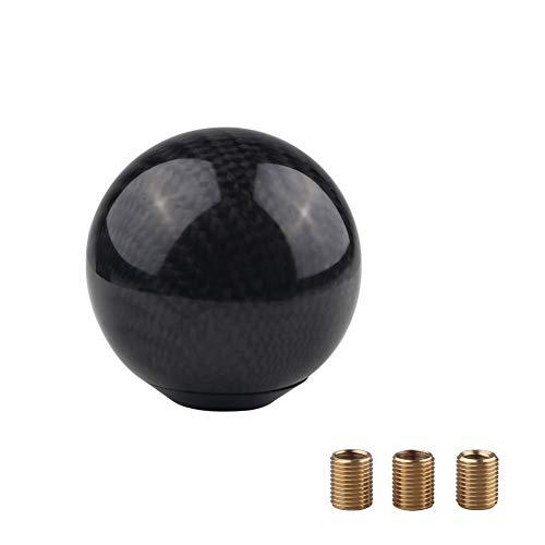 汎用丸型シフトノブ直径50mm M8xP1.25/M10xP1.25/M10xP1.5 3枚口径変換アダプター付きボール型リアルカーボン製ギアノブ AT&MT兼用ブラック